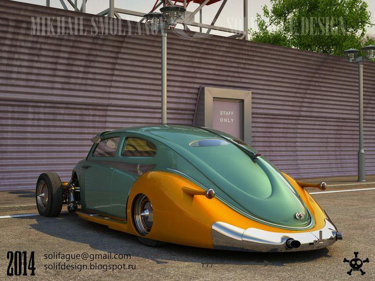 Жук в стиле арт деко. Открытый двигатель, спаренный 4-х цилиндровый оппозитный двигатель. Рама. Beetle ...