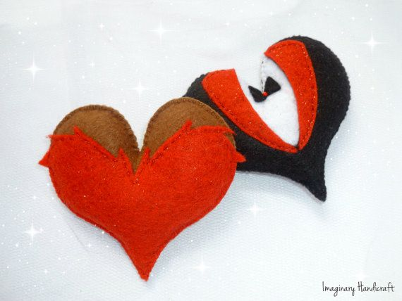 Wedding cake topper Felt hearts Valentines by ImaginaryHandicraft