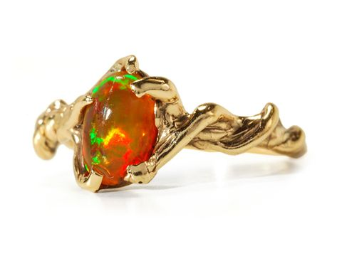 Modernist Mexican Fire Opal Ring - The Three Graces