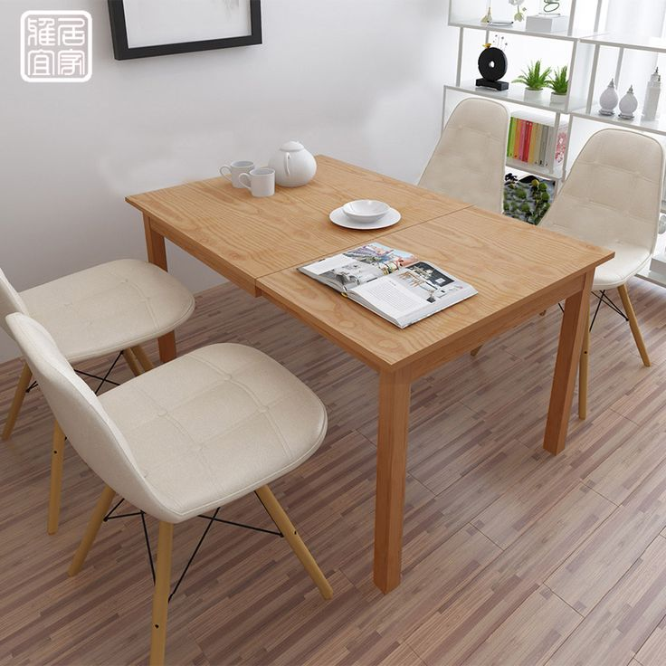Wood Telescopic Dining Table Small Apartment Minimalist Modern  Japanese Style Folding Tables And Chairs Combination
