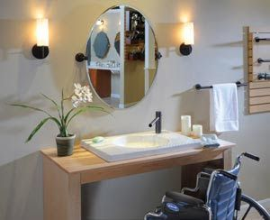 Sink with space underneath to roll under  The Kitchen and Bath People   Planning for   Ada BathroomHandicap BathroomBathroom VanitiesBathroom  78 best images about Adaptive resources on Pinterest. Handicap Bathroom Vanity Photos. Home Design Ideas