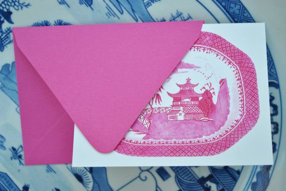 """Pink"" blue willow - perfect: Notecard Th Pink, Chinoiserie Note, Pink Sets, Gifts Wraps, Note Cards, Pink Blue, Desks Accessories, Foldover Notecard, Blue Willow"