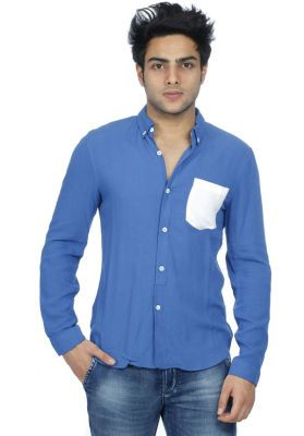 Blue Casual With Contrast Pocket