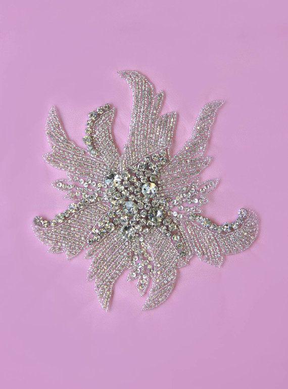 1 Swarovski Crystal Beaded Applique by allysonjames on Etsy, $128.98