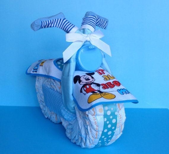 Diaper Motorcycle - Boy Diaper Cake - Diaper Bike - Mickey Mouse Bike on Etsy, $50.00