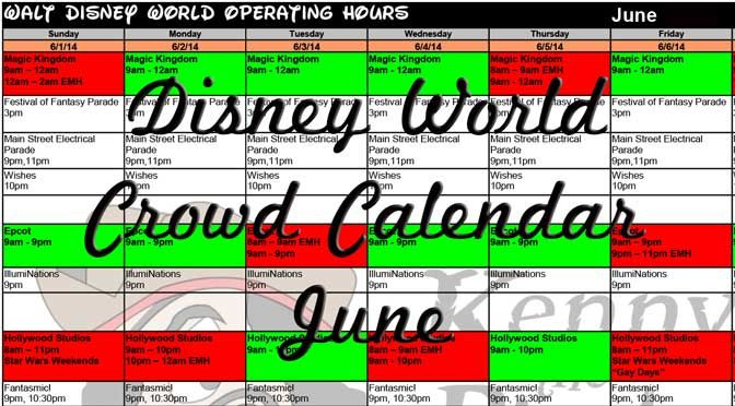 2015 June Disney World crowds calendar, park hours, show schedules, fastpass dates, dining booking dates, best parks Updated 5/13/14 June 2015 Disney World Crowd Calendar will be released in mid-No...