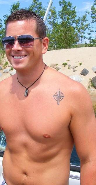Nautical Compass/Cross tattoo (and a sexy beast)