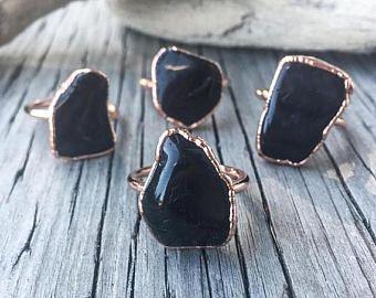 On Sale Black Tourmaline Ring | Black Tourmaline Statement Ring | Stone Ring | Statement Ring | Electroform Ring | Crystal Ring | Black Ring