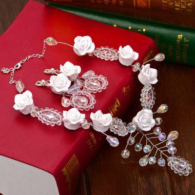 Кристалл ожерелье невесты свадьба цветов аксессуары для волос Корейский ручной бисером ожерелье свадебные укладки аксессуары повязку росы месяц