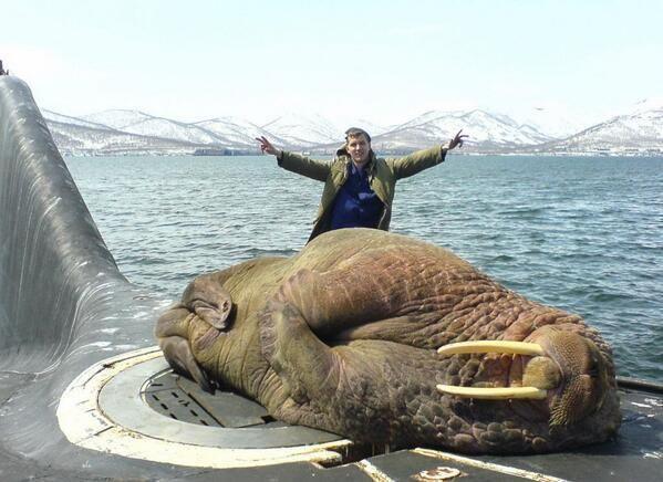 A walrus asleep on a Russian submarine