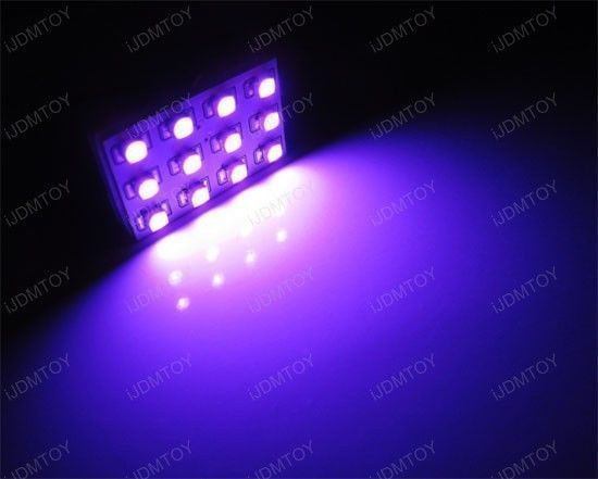 2 x Pink Magenta Purple 12-SMD LED Panel Lights For Interior Map/Dome/Door Light