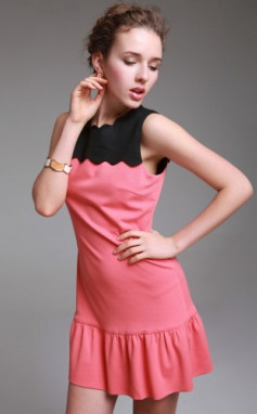 pink knit dress with black top
