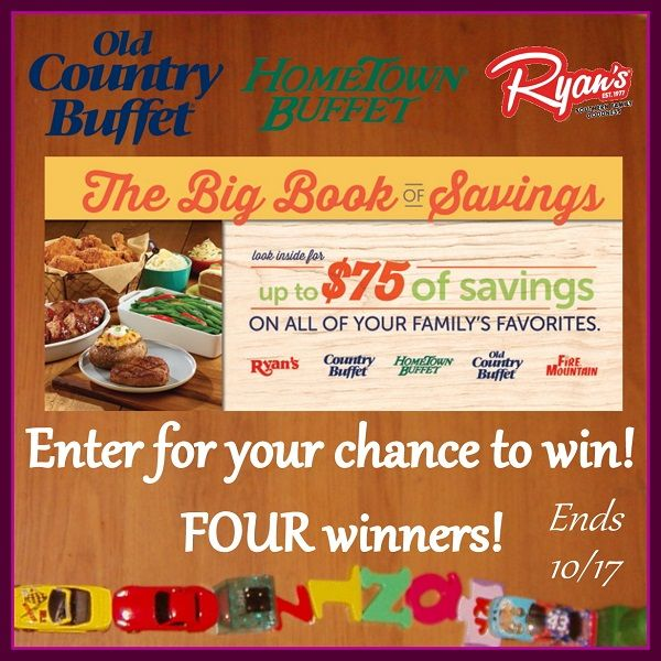 Low entry #giveaway with FOUR winners! Enter to #win The Big Book of Savings for discounts and deals at Old Country Buffet, HomeTown Buffet, and Ryan's restaurants! #Giveaway ends October 17 (11:59pm).