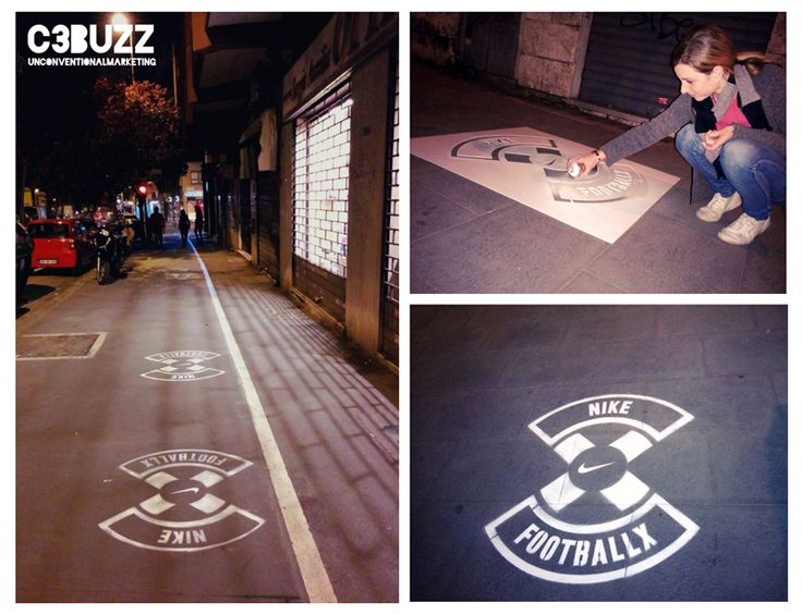 Stencil per Nike Football X a Roma. Durante i tre giorni di attività sono stati realizzati 100 stencil nelle zone adiacenti ai principali campetti da calcio della città. #guerrillamarketing #stencil #nikefootball