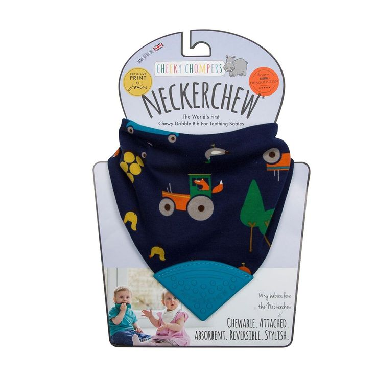 Sometimes there's just nothing better than wearing a cute little foxy print - especially if it holds a chewy bit for gnawing your sore gums on! #neckerchew #cheekychompers #dribblebib #bandanabib #teething #teethingbaby #teethingtoddler #baby #toddler #terribletwos #teethingsucks #bestteethingrelief #bestteethingtoy #fox #farm #cute #tractor #woodland #reversible #stylish