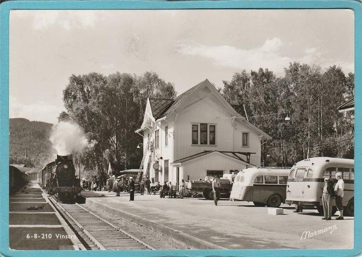 Vinstra Station. Ånglok och Bussar 1961 Normann