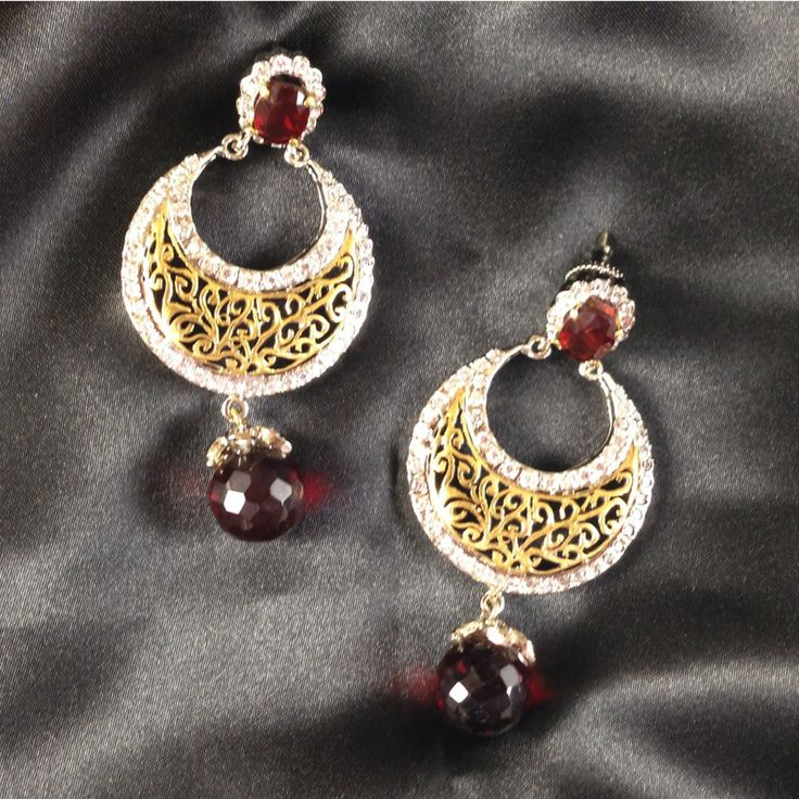 Indian Chandbala Bollywood Earring with Simulated Ruby