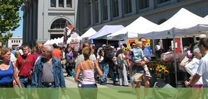 ferry plaza farmers market  (larkspur ferry on Sat: 9:40-10:30am to SF, 12:30-1:30pm back...plus other times)
