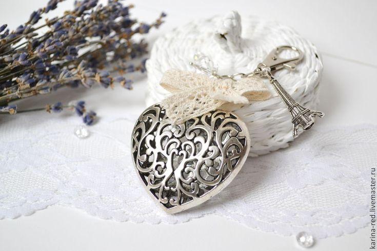 Купить Брелок Сердце на Сумку Ключи Рюкзак Париж Моя Любовь Винтажный Кружево