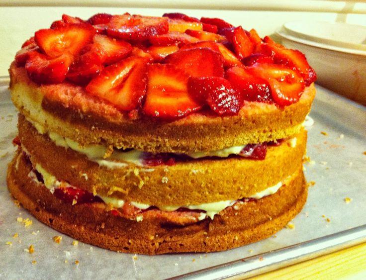 Strawberry Custard Cassata Cake - Corbo's Inspired | Beene's Baking Blog