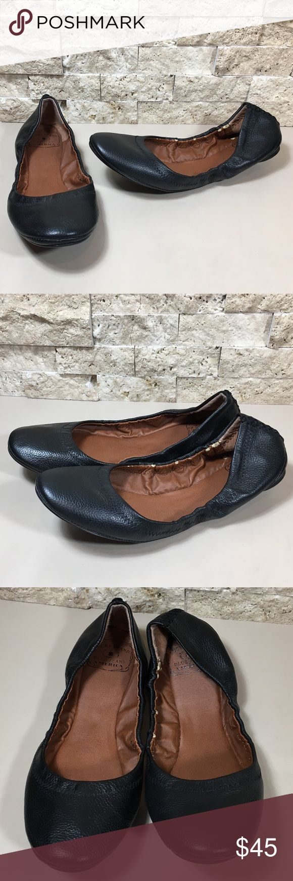 Lucky Erin Black Leather Ballet Flats Shoes Size 8 Lucky Erin black leather slip on ballet flats. Great preloved condition, worn only a few times, inside is peeling a bit but has been painted with leather paint to reduce further peeling, please see photos. Women's size 8 M.  f829 Lucky Brand Shoes Flats & Loafers