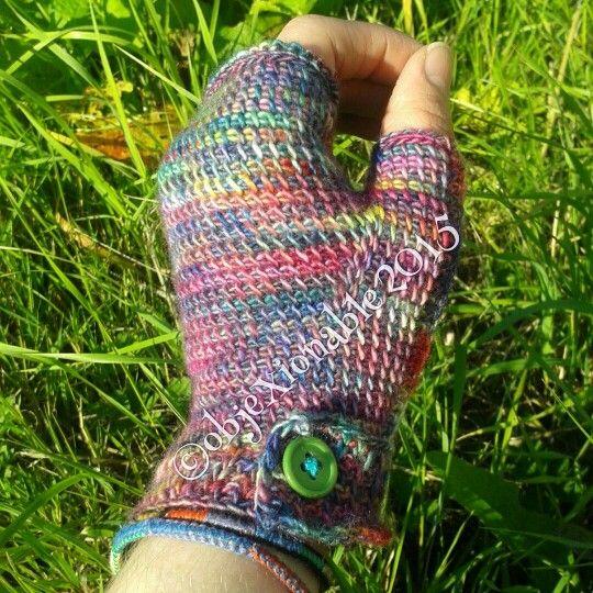 Tunisian crochet fingerless mittens. Gloves made with fine merino variegated wool.