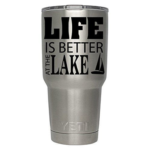 "Life is Better at the Lake Boat decal for yeti,rtic, ozark tumblers, laptops, car decals. This is listing is for ONE Yeti Tumbler Decal ONLY ""Life is Better at the Lake Boat decal "" This Listing does NOT include a Yeti Cup. Please choose your cup size and Decal Color from drop down menu to the right. Please leave your name if custom name needed. Thank you for visiting our store! The decals are made from high quality oracle 651 vinyl. Please check out other items I may have. We do custom..."
