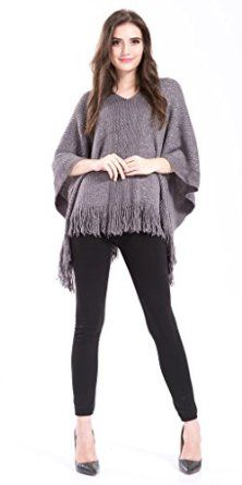 Women's Fringed Poncho With Sequin