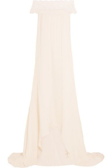 OFF-SHOULDER: Self-Portrait's off-the-shoulder gown is inspired by pieces worn by Brigitte Bardot. Perfect for relaxed beach weddings, this ivory satin style is trimmed with signature guipure lace that's softly scalloped at the edges. The shorter front hem is ideal for showcasing statement heels on your big day.