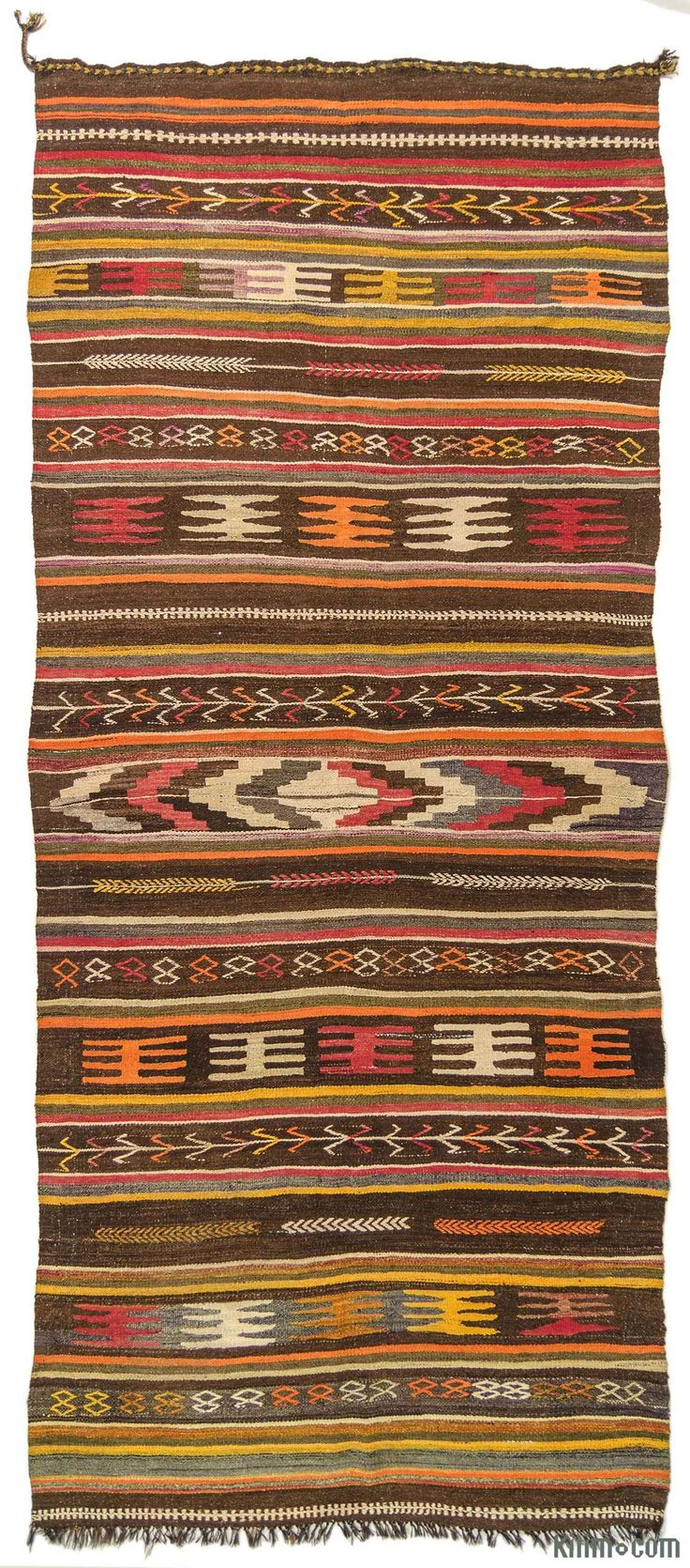Vintage kilim rug handwoven in Turkey in 1960's. This tribal kilim is in very good condition.