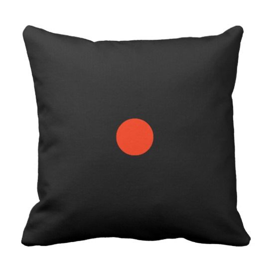 Red dot with black backgroud - geometric design throw pillow