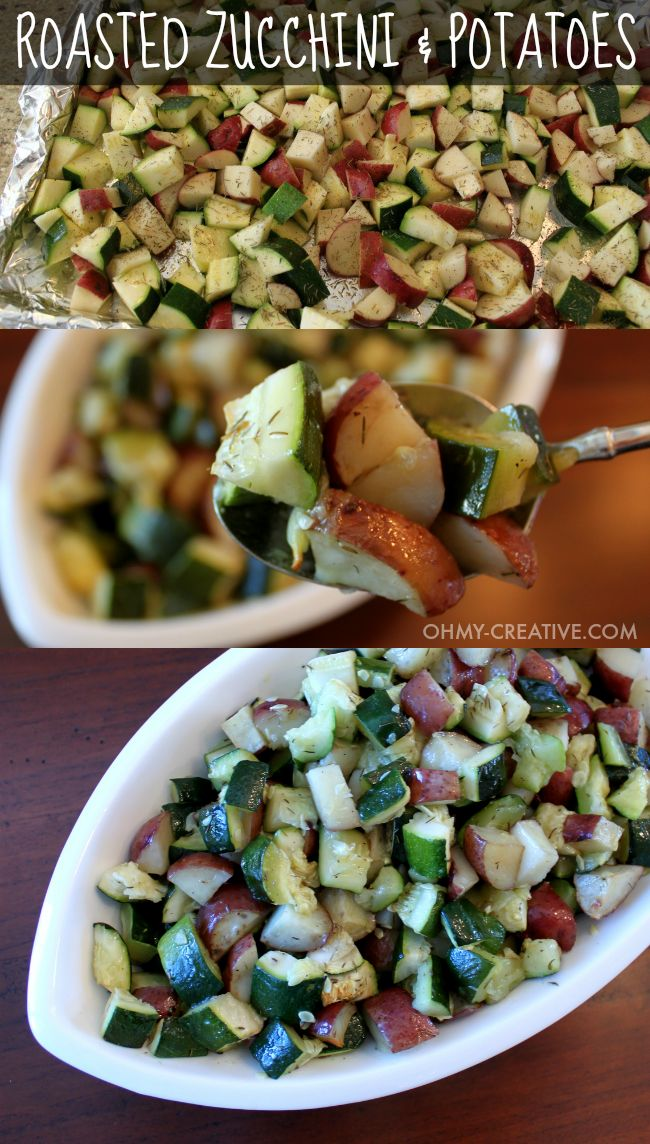 """This is one of my favorite """"go to"""" recipes. Not only is this Roasted Zucchini and Potatoes Side Dish easy to make it is also delicious and compliments any main course!   OHMY-CREATIVE.COM"""
