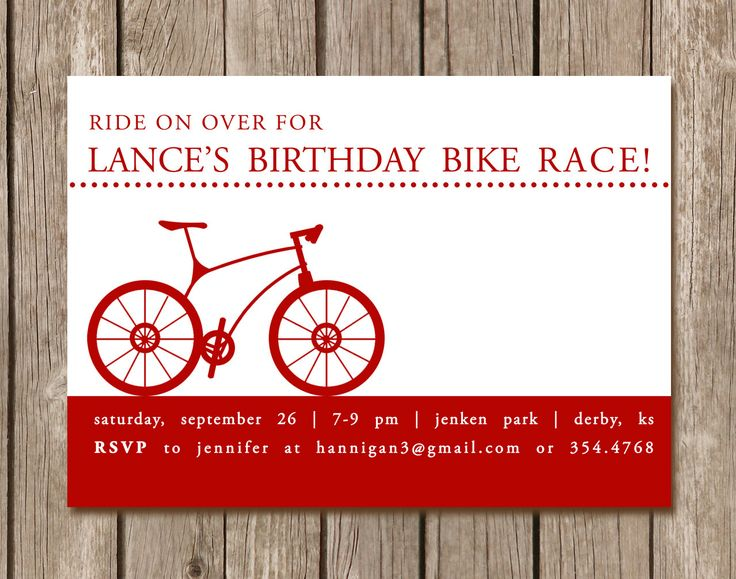 Bicycle Birthday Party Invitation perfect by pinkcreativeinvites, $5.00