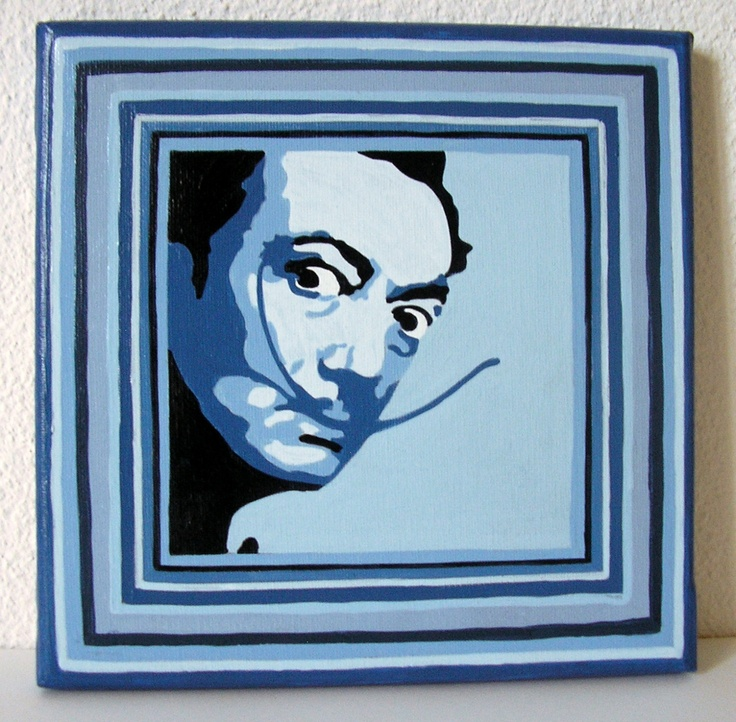Tableau acrylique sur toile Dali - 20x20 cm - 20 €