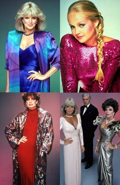 This image represents 1980's women's fashion because of the bright colors,patterns,and the emphasis on the shoulders.Also the glitter,and hairstyles