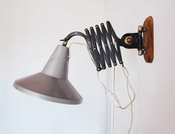 Accordion Articulated Arm : Lamp industrial vintage extensible arm of accordion