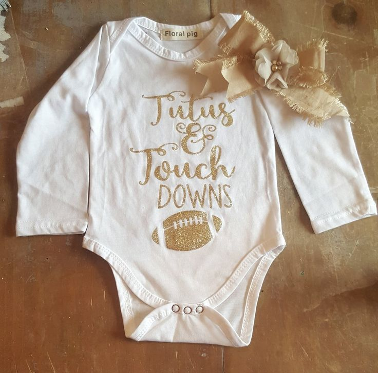 TuTu's & Touchdowns Get Her Superbowl Football Ready FREE Bow Infant Newborn Onesie Baby Girl Boutique Clothing 0/3 mo.