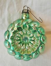 VINTAGE GREEN MERCURY GLASS BUMPY DISC CHRISTMAS ORNAMENT