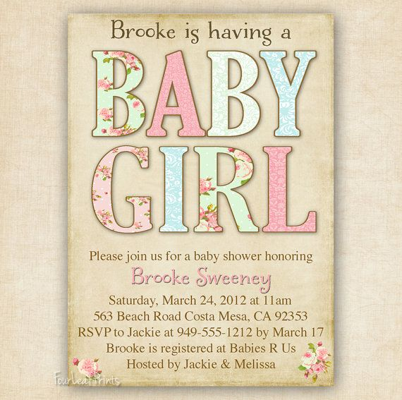 Shabby Chic Baby Girl Shower Invitation  by FourLeafPrints on Etsy, $13.00