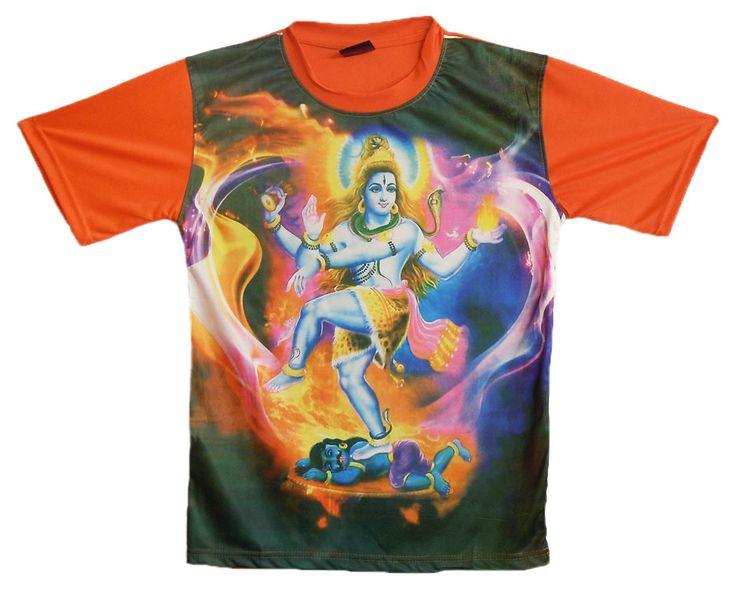 Printed Nataraj on Black with Saffron T-Shirt (Synthetic)
