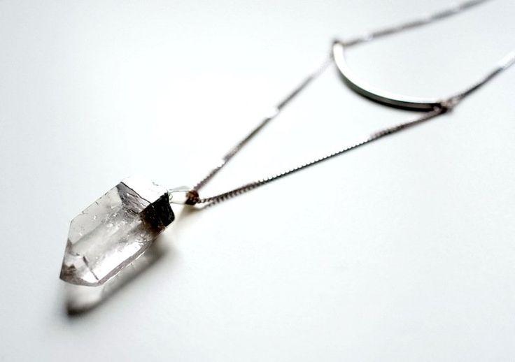 Ketten lang - Lange Silber Kette: Geo Quarzkristall Kette - ein Designerstück…