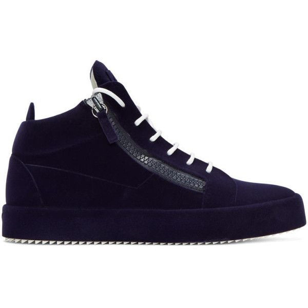 Giuseppe Zanotti Navy Flocked May London High-Top Sneakers ($845) ❤ liked on Polyvore featuring men's fashion, men's shoes, men's sneakers, navy, smuggy navy, mens navy blue sneakers, mens navy shoes, mens leather high top shoes, mens high top shoes and giuseppe zanotti mens shoes