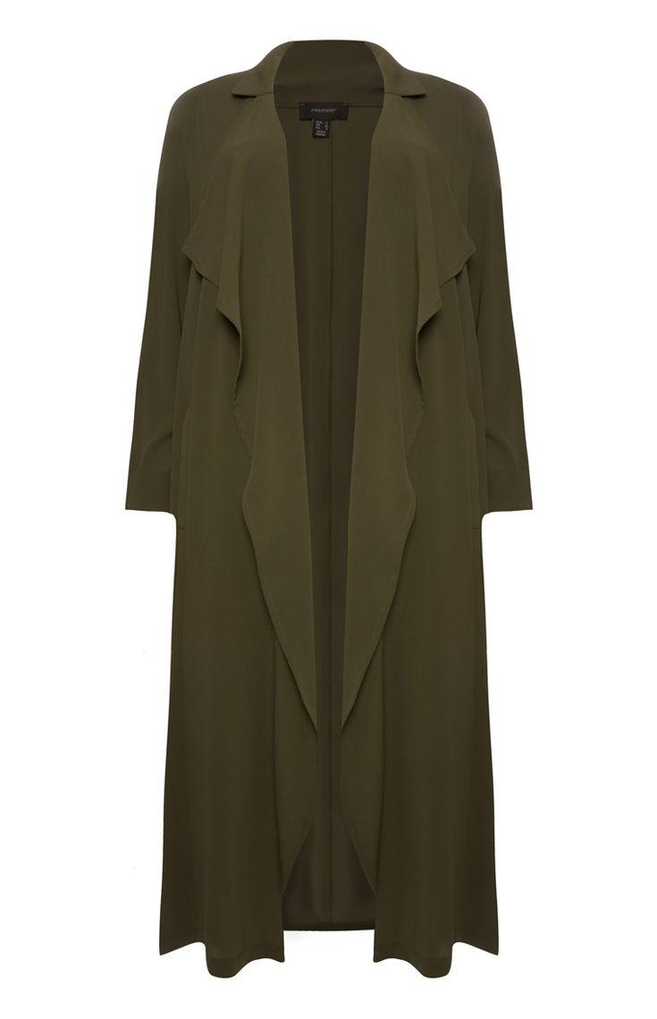 Khaki Crepe Waterfall Maxi Coat