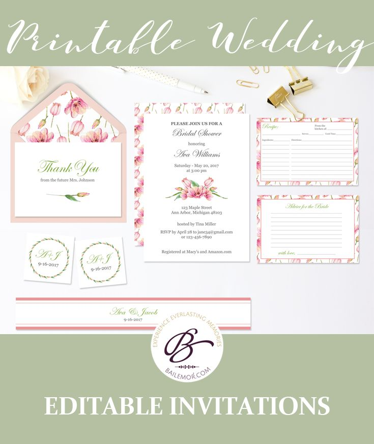 43 best Wedding Invitation Templates images on Pinterest Wedding - invitation template bridal shower