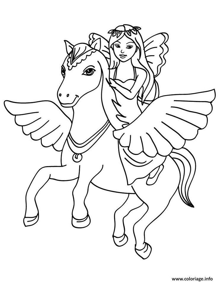 Coloriage fee licorne dans les airs Dessin à Imprimer   Coloriage poney, Coloriage cheval ...