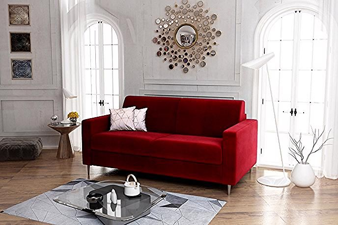 Canape Convertible 3 Places Gatsby Tissu Velours Rouge Canape But In 2020 Living Room Decor Home Decor Room Decor