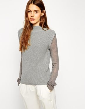 """{ASOS Sweater with Funnel Neck and Fine Knit sleeve - under $100 + take 10% off w/ code """"RMNOCT"""", limited time only}"""