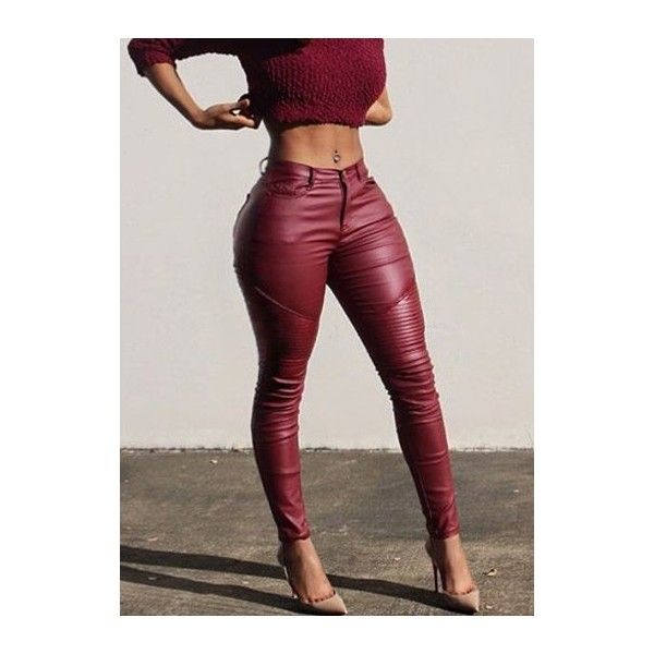 Rotita Zip Closure Wine Red Skinny Pants (85 SAR) ❤ liked on Polyvore featuring pants, wine red, red leather pants, print pants, faux pants, leather zipper pants and red trousers