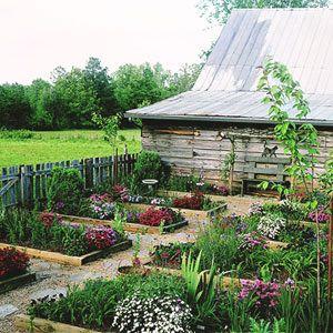 Fenced in, raised bed garden