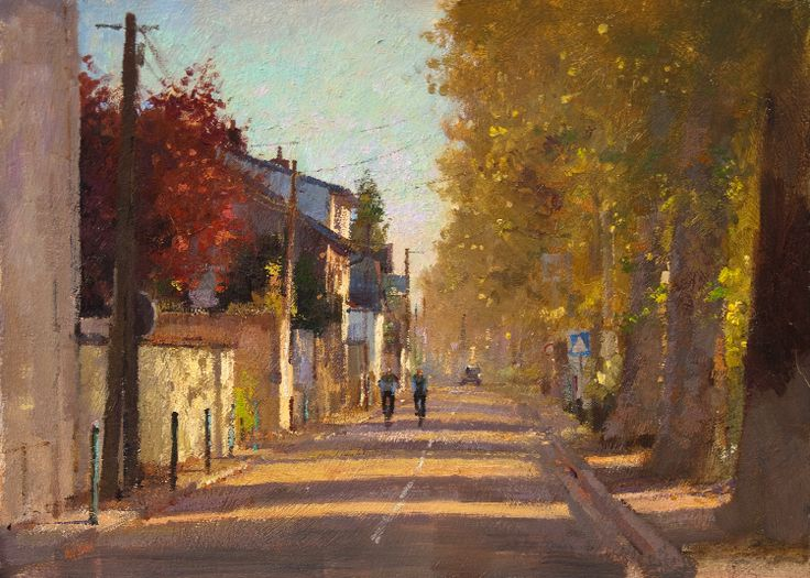 Matthew Alexander > Cyclists, Pontoise, France  Oil on board 10 x 14 inches